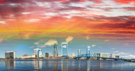 Panoramic view of Jacksonville skyline at dusk, Florida - USA. Stock Photo