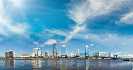 Panoramic view of Jacksonville skyline at dusk, Florida - USA. Stock Photo