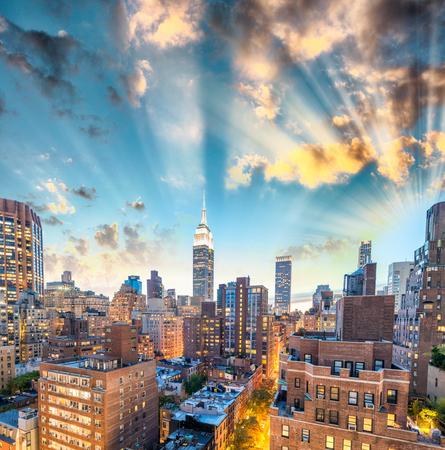 Sunset aerial view of Midtown Manhattan, New York CIty.