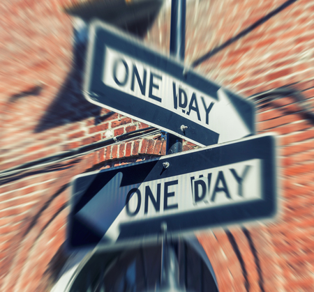 One way street sign in new Orleans with historical classic building on background. Stock Photo