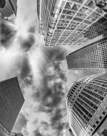 wharf: Black and white skyline of Canary Wharf, London.