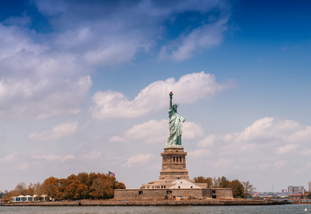 The Statue of Liberty from ferry boat, New York, USA. Stock Photo