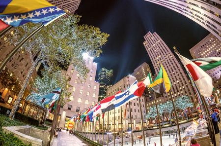fifth avenue: NEW YORK CITY, NY - NOVEMBER 5: Rockefeller Center on Fifth Avenue at night on November 5, 2015 in New York City. Fifth Avenue has the worlds most expensive retail spaces as the symbol of wealthy New York.