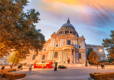 St Paul Cathedral at sunset, London.