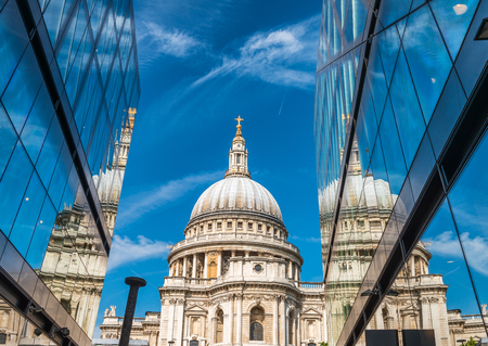 Glass reflections of St Paul Cathedral, London. Stock Photo