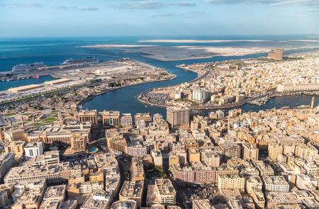 bur dubai: Bur Dubai and Deira, aerial view of Dubai Creek.