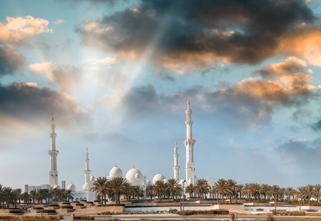 Abu Dhabi, UAE. Panoramic view at sunset of Sheikh Zayed Mosque. Stock Photo