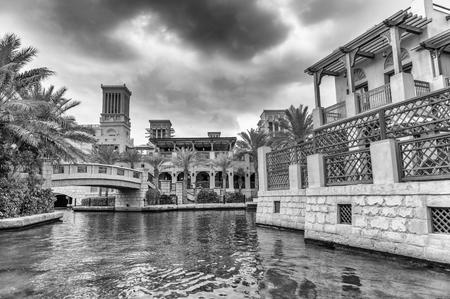 Classic Dubai buildings in Madinat Jumeirah, UAE.
