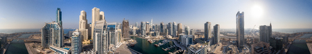 Dubai at dusk, aerial view. 스톡 콘텐츠
