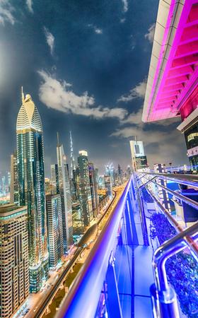 zayed: Sheikh Zayed road at night, aerial view of Dubai.
