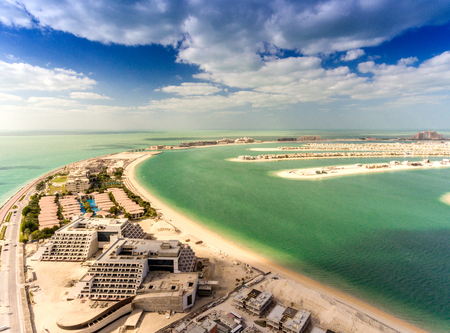 waterfront property: Aerial view of Palm Jumeirah Island, Dubai.