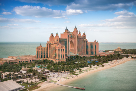DUBAI, UAE - DECEMBER 10: Panorama aerial view of Atlantis the Palm. It is a luxury 5 star hotel in Dubai, UAE on December 10, 2016.