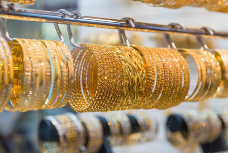 gold souk: Golden jewelry in Dubai, UAE.