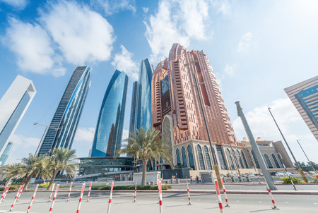 ABU DHABI, UAE - DECEMBER 7, 2016: Buildings from Corniche Road. The city attracts 10 million tourists annually. Editorial
