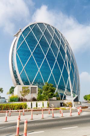headquarters: ABU DHABI, UAE - DECEMBER 7, 2016: Aldar headquarters building, UAE. Aldar headquarters is world first circular building, high for 110m with 61,900 sq mt of floor area.