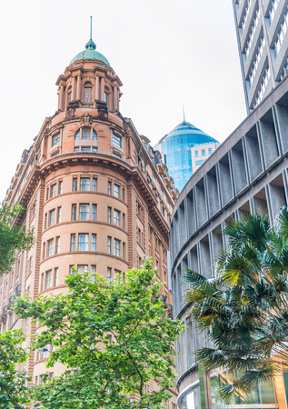 Ancient and modern buildings in Martin Place, Sydney - Australia.