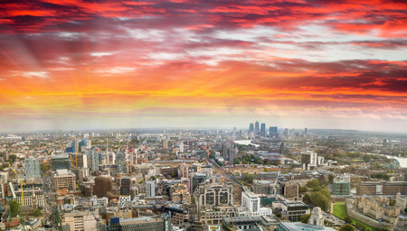 Sunset aerial panoramic view of London skyline, eastern side.