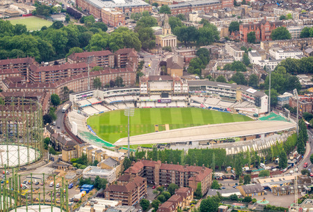 LONDON, ENGLAND - JUNE 2015: Aerial view of The Kia Oval Cricket Ground from helicopter.