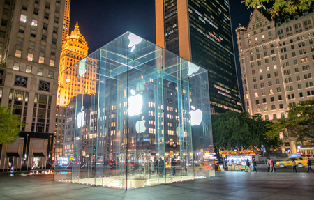 flagship: NEW YORK CITY - OCTOBER 23, 2015: Entrance to the Apple Flagship Store near Grand Army Plaza in New York. Apple is the largest publicly traded company in the world by market capitalization. Editorial