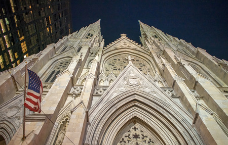 fifth avenue: St Patrick Cathedral facade at night, Fifth Avenue - New York City. Stock Photo