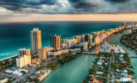 Aerial view of Miami Beach skyline, Florida.