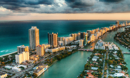 Aerial view of Miami Beach skyline, Florida.