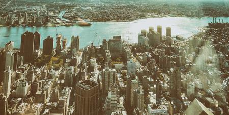 uptown: Aerial view of Manhattan skyline. Stock Photo