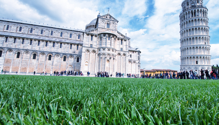 Pisa, Miracles Square. Beautiful view from grass level.