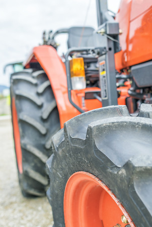plowing: Tractor in operation, close-up view.