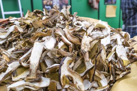 wild mushrooms: Porcini Mushrooms sold at market. Stock Photo