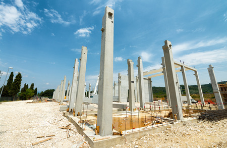Base of construction building in working site. Stock Photo