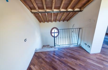 attic: Straircase to attic floor. Stock Photo