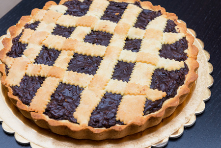 Chocolate pie - Torta coi bischeri, Tuscany. Stock Photo