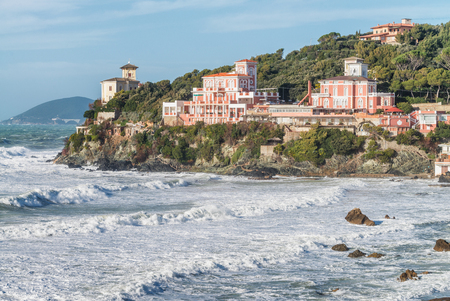 livorno: Castiglioncello, Tuscany - Coastal view during a storm.