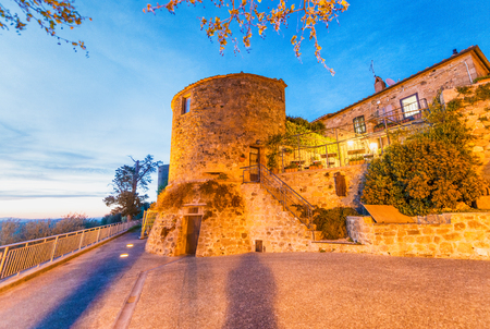 Monticchiello, Tuscany. Medieval architecture at dusk.