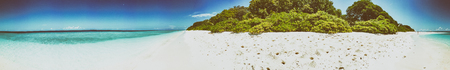 Panoramic view of Maldivian Sea and Island.