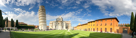 PISA - OCTOBER 10, 2016: Tourists in Square of Miracles. Pisa attracts 3 million people annually.