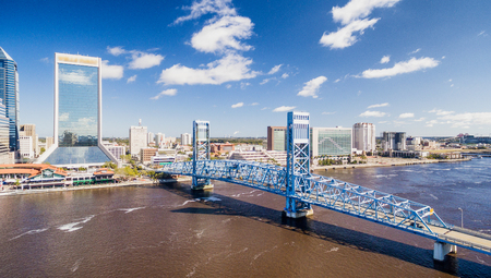 Aerial view of Jacksonville skyline on a sunny day, Florida, USA. Stock Photo