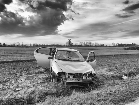 wreckage: Car wreckage after accident.