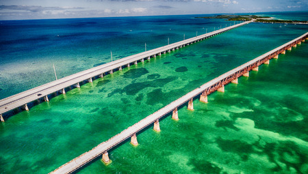 Beautiful aerial view of Overseas Highway Bridge, Florida.