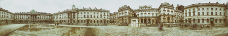 LONDON - JULY 2015: Somerset House panoramic view.It is a large Neoclassical building (design Sir William Chambers, 1776) in central London.