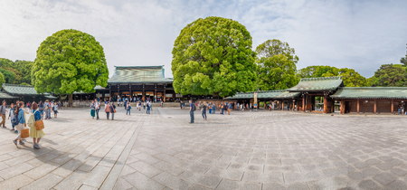TOKYO - MAY 20, 2016: Tourists visit Meiji Shrine park. Tokyo is visited by 15 million people every year. Editorial