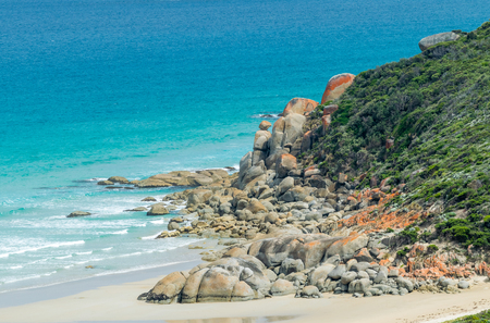 wilsons promontory: Rounded red rocks in Wilsons Promontory - Squeaky Beach.