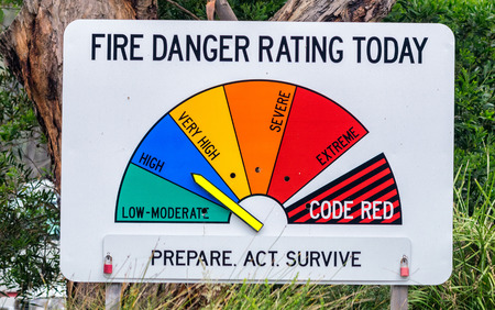 rating: Forest Service Sign stating that Fire Danger is High Stock Photo