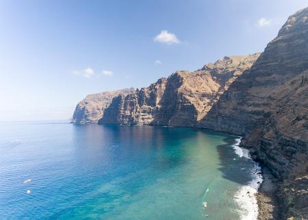 Aerial view of Los Gigantes cliffs in Tenerife, Spain.