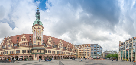 LEIPZIG, GERMANY - JULY 2016: Panoramic view of city streets. Leipzig is a major attraction in Germany.