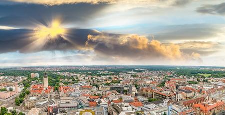 Beautiful panoramic sunset aerial view of Hamburg, Germany.