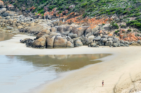 wilsons promontory: Rounded red boulders in Wilsons Promontory - Squeaky Beach. Stock Photo