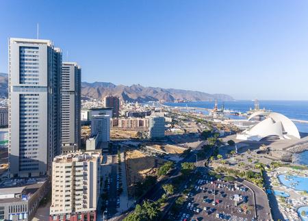 Aerial view of Santa Cruz de Tenerife skyline along the coast, Canary Islands, Spain.