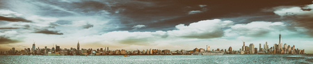 New York City skyline at sunset with Hudson river from Jersey City. Stock Photo